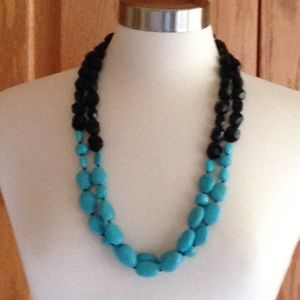 RALPH LAUREN - Black/Turquoise Chunky Necklace